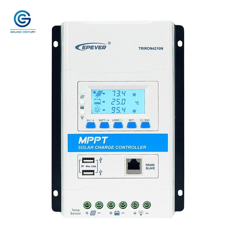 Epever 40A MPPT الشمسية جهاز التحكم في الشحن 12 فولت 24 فولت السيارات العمل TRIRON 4210N منظم الطاقة الشمسية