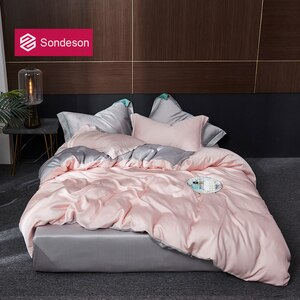 Sondeson Beauty Top Grade 100% Silk Pink Bedding Set 25 Momme Healthy Skin Duvet Cover Fitted Sheet Pillowcase Queen King Set