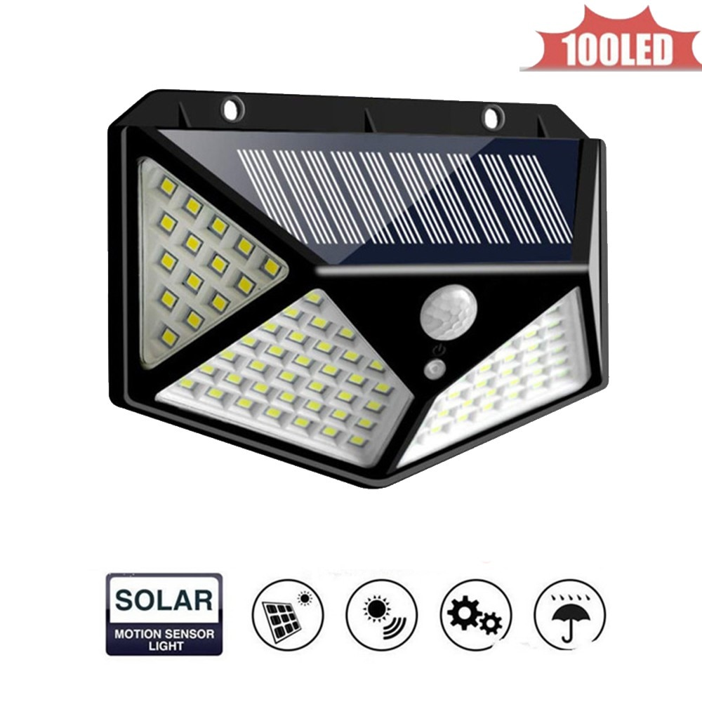 100 LED Solar Wall Lamp Radar Wave Induction Lighting With 3 Working Modes Remote Control IP65 Waterproof Street Light 4 sided 2