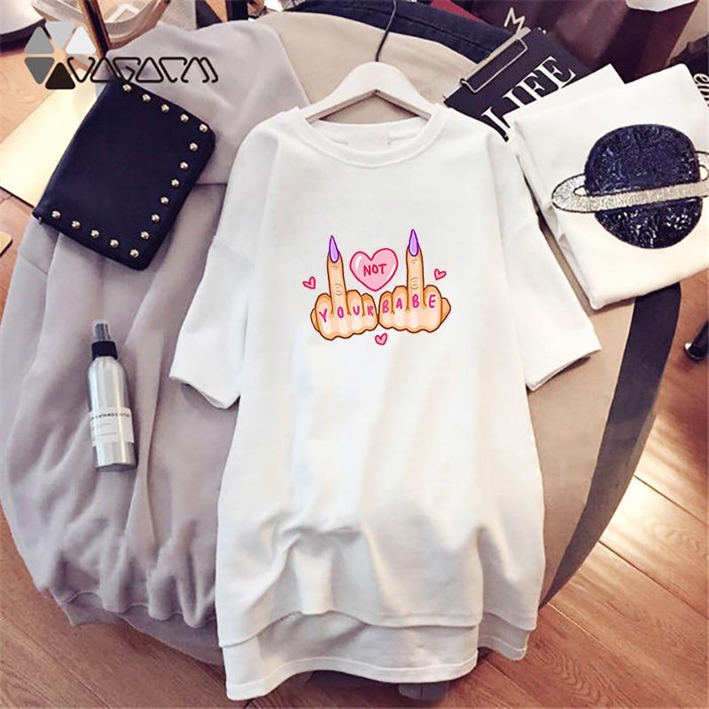 Harajuku Women Mini Dresses Fashion Love Letter Print Plus Size T-Shirt Short Sleeve Summer Loose Streetwear Vestidos Robe Femme