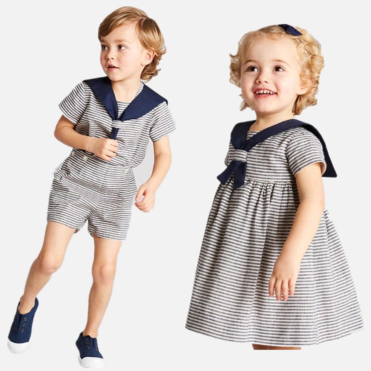 الاطفال الملابس الطويلة شقيق الطفل الأخت مطابقة الفتيان مخطط أعلى السراويل 2 قطعة فستان من القطن الفتيات ملابس أطفال الصيف