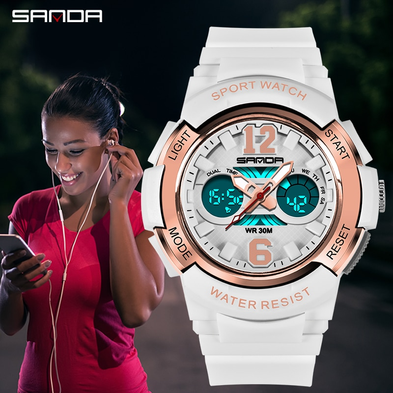 SANDA Women Watches Sports Watch Waterproof LED Light Alarm Digital Watch Ladies Watches Relogio Feminino Watch for Women enlarge