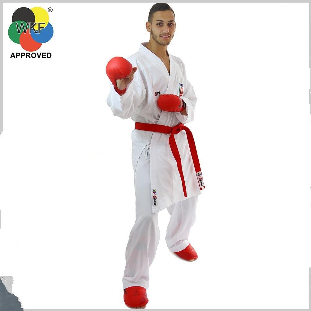 Uniformes de karate Smai certificados por WKF para principiantes, exportación original, ropa de entrenamiento de karate, tela de sarga de algodón con cinturón blanco