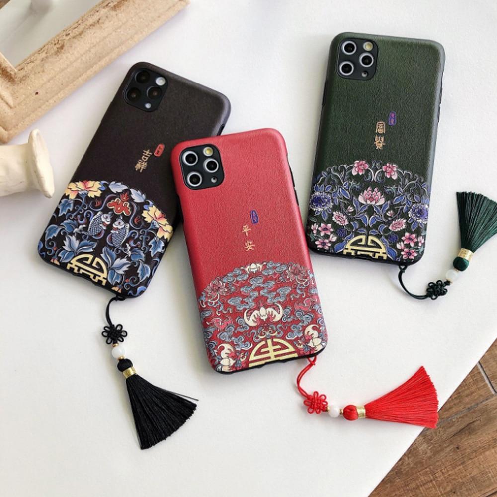 Capa de telefone de estilo chinês auspicioso estilo retro palácio para apple iphone 11 11 pro x xr xs max 8 7 6 6s mais capa fina