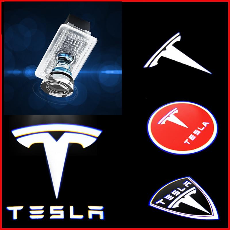 Car LED 3D Logo Shadow Light Welcome Light Nano Decorative Signal Lamp For Tesla Model 3 Model X Model S Model Y Accessories