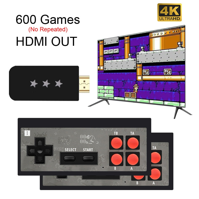 USB Wireless Handheld TV Video Game Console Build In 568 Classic 8 Bit mini Game Console Dual Gamepad HDMI-Compatible Output