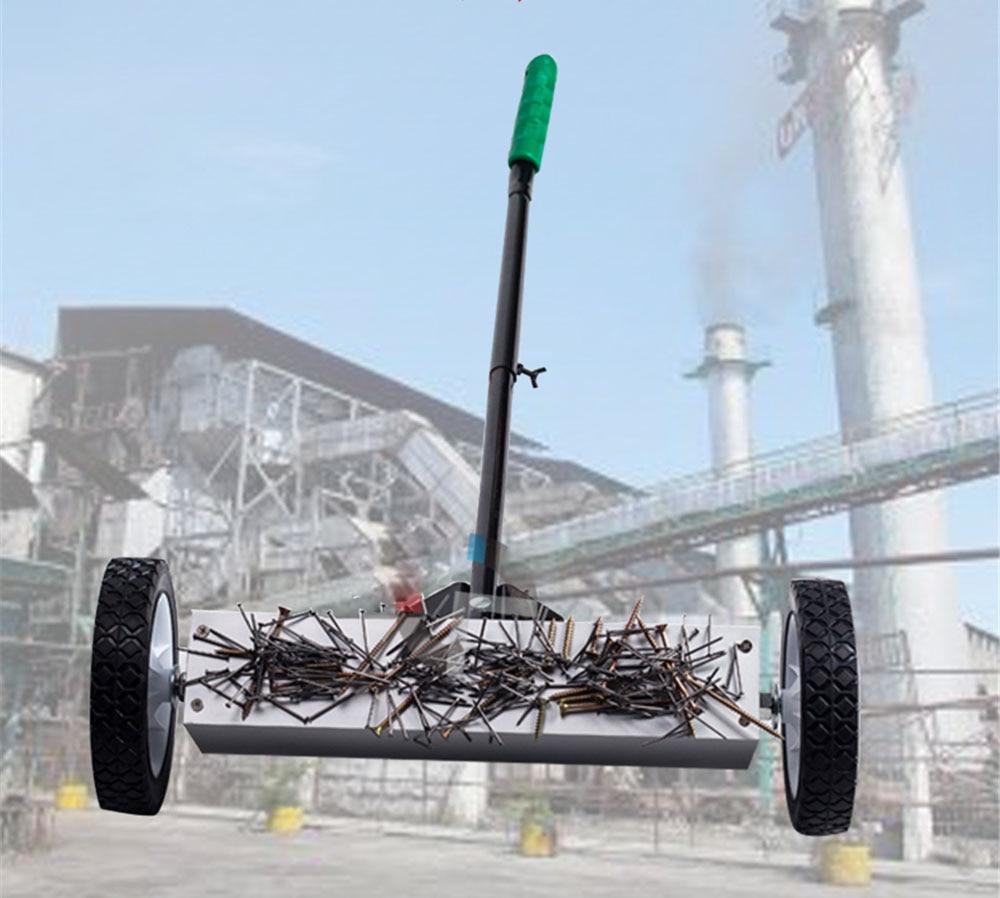 Hierro magnético limpio carrito de empuje manual de succión barredora imán herramienta