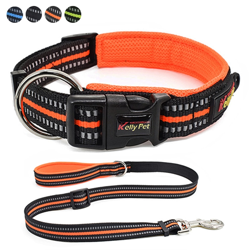 Dog Collar Leash Set Nylon Reflective Collar Rope Pet Walking Anti-lost Puppy Collars Pets Lead Leash for Medium Small Dogs