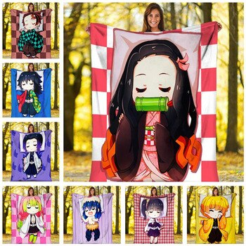 Anime Demon Slayer Kimetsu No Yaiba Kamado Nezuko Blanket Duvet Home Decorative Spring/Autumn Fleece Blankets Children Bedding