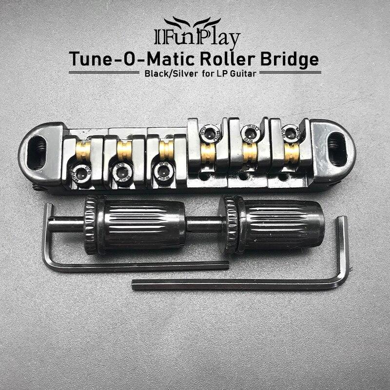 Роликовое седло Tune-O-Matic гитарный мост с 2 шипами для электрогитары LP аксессуары для электрогитары ra серебристо-черный