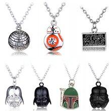 Star Wars dark vador casque pendentifs & colliers bijoux de film noir/argent guerrier Star Wars logo longue chaîne BB8 collier
