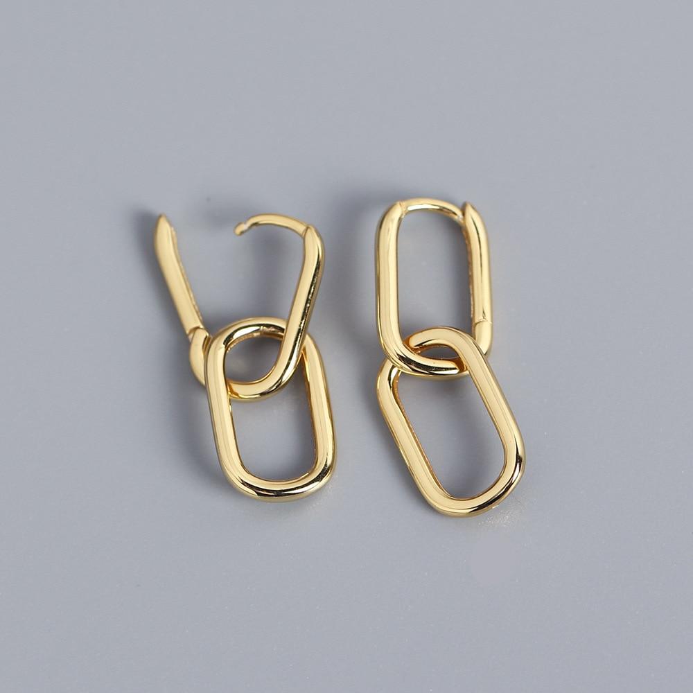 Creative Lock Square Small Earrings Women 925 Sterling Silver Geometric Design Bohemia Detachable  Earring for Elegant Jewelry mismatched detachable earrings