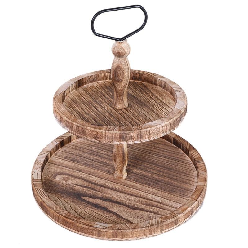 خمر الخشب اثنين من طبقات صينية مع مقبض معدني مستدير ، وسهلة لتجميع 2 الطبقة ديكور المنزل لعرض كعكة طبقات