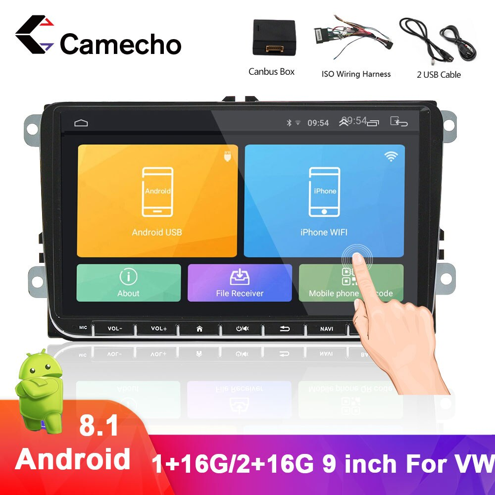 Camecho Android 9,0 2 din reproductor Multimedia para VW Passat Golf MK5 MK6 Jetta T5 EOS POLO Touran Seat Sharan navegación GPS