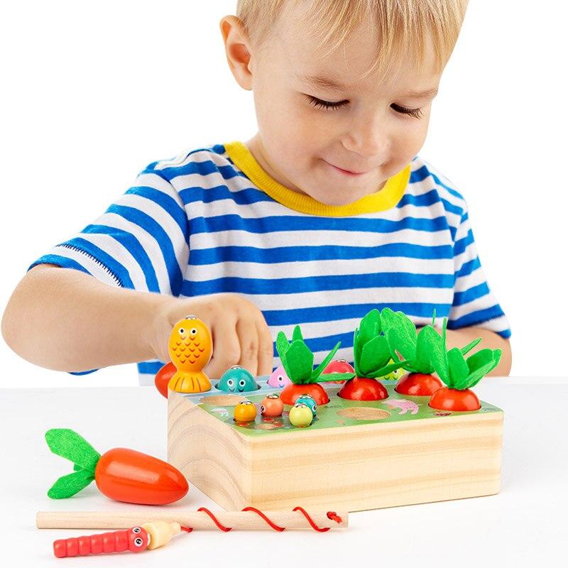 Деревянная рыболовная игрушка для детей, милая мультяшная рыба, квадратные игры для маленьких мальчиков и девочек, детские Игрушки для ранн...