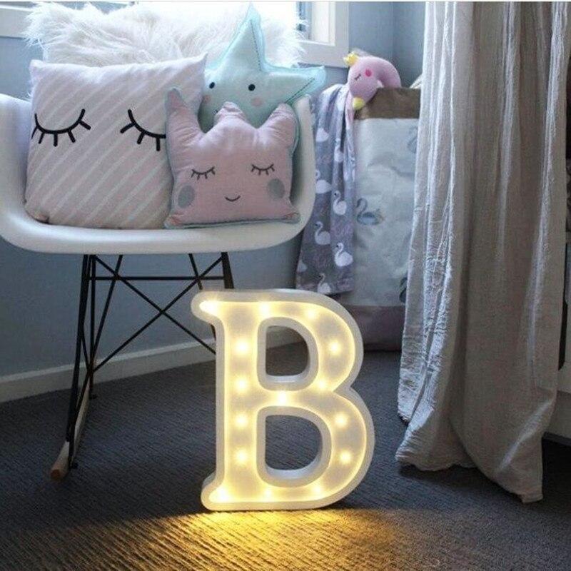 26 букв Белый светодиодный Ночной светильник, пластиковый знак, настольная лампа для дня рождения, свадьбы, вечеринки, спальни, настенный под...