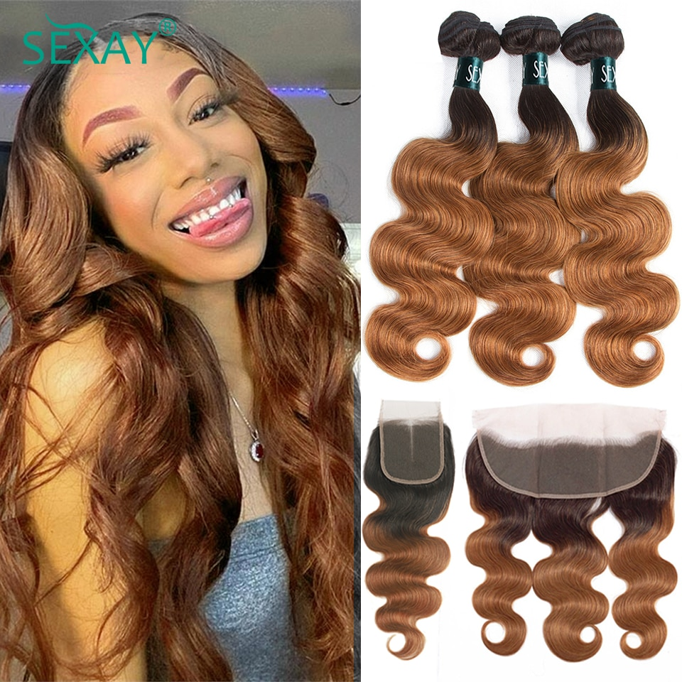 Sexay #30 Ombre Body Wave Bundles With Closure Dark Blonde 10A Remy Brazilian Human Hair Weave 3 Bundles With 13x4 Lace Frontals