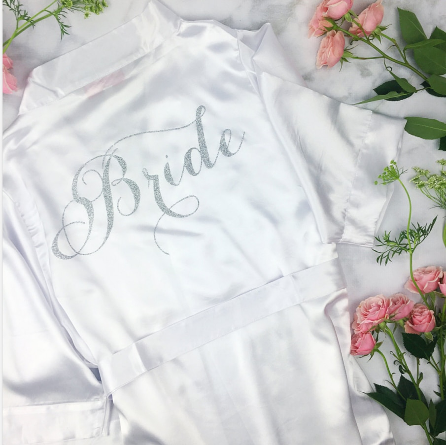 personalize Bridal Lingerie Shower personalised Bachelorette Party dress robe Maid of Honor kimono bathrobe silk Robe ivory robe