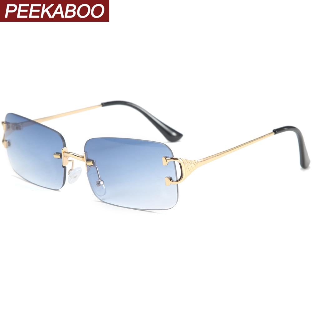 Peekaboo blue rectangular sunglasses rimless men metal fashion square sun glasses for women gradient lens frameless 2021 uv400