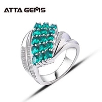 green emerald sterling silver ring for unisex silver ring 3 carats clean quality created emerald personal and special