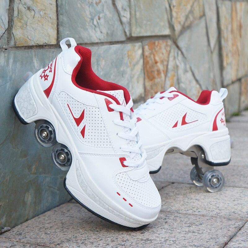 تشوه هارب أربع عجلات التزلج على الجليد للكبار الرجال النساء للجنسين الطفل أحذية ساخنة أحذية رياضية كاجوال المشي زلاجات دوارة