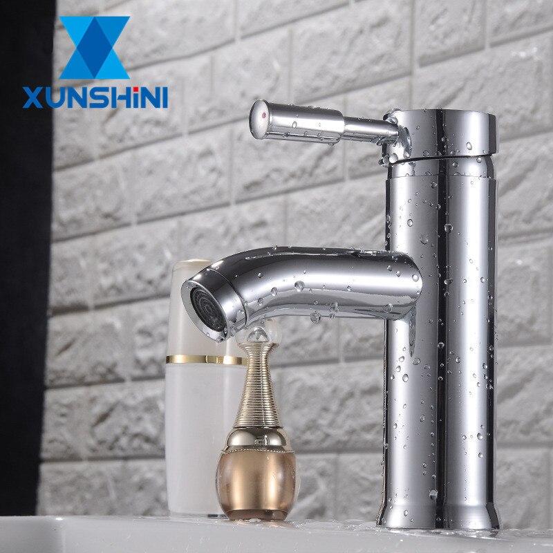 Grifo XUNSHINI de lavabo, grifos de baño, grifo de lavabo, grifo mezclador frío caliente de una sola manija