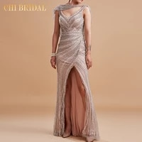 2021 new halter long dress luxury beading decoration tassel structure level female elegant evening dress handmade ladies long dr
