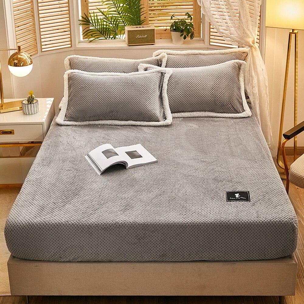 ملاءة سرير من الفانيلا بلون رمادي صلب ، قطيفة دافئة للشتاء ، ناعمة ، من الكشمير والمنك ، مفرش سرير مرن