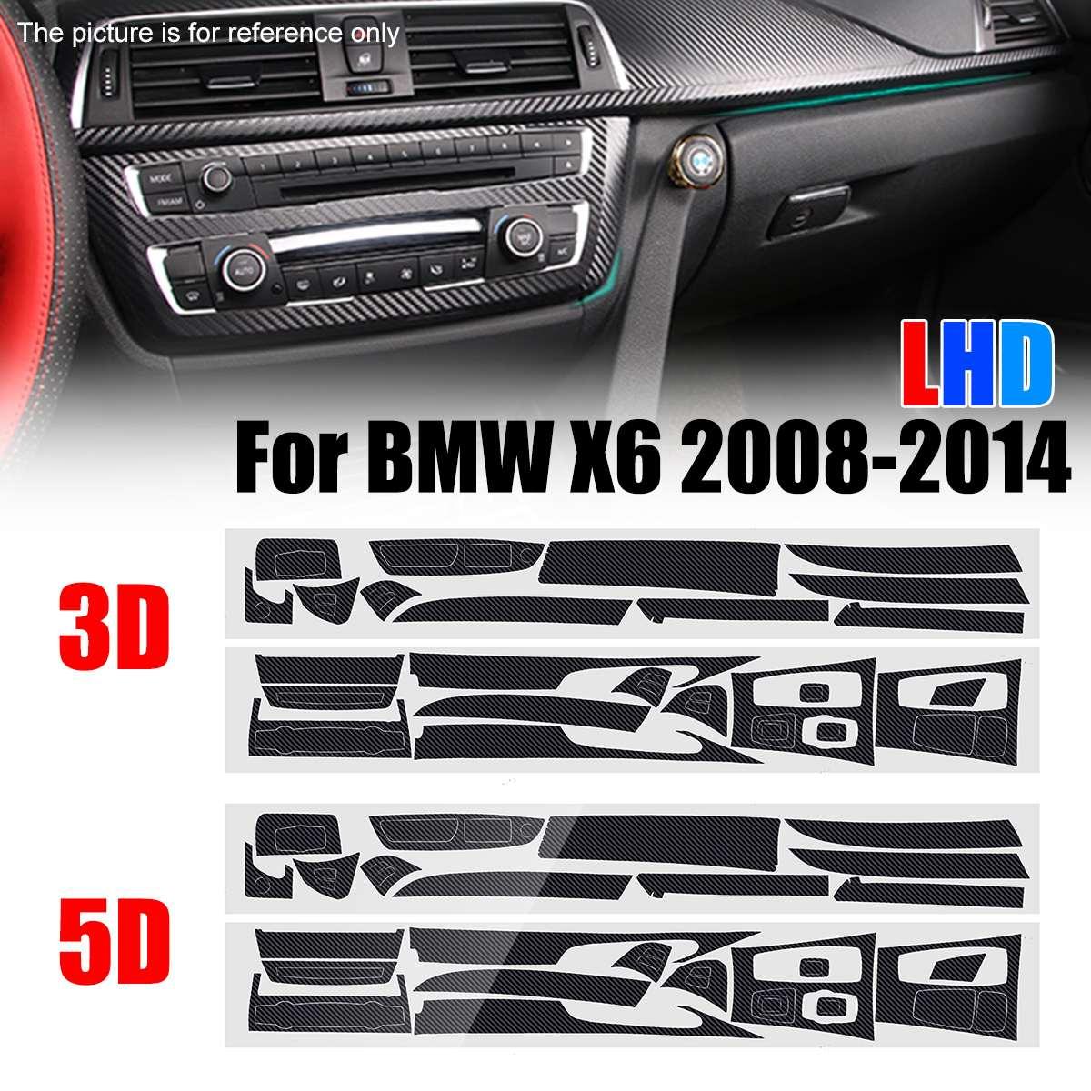 5D brillante/3D mate DIY pegatina fibra de carbono estilo pegatina vinilo calcomanía ajuste para BMW X6 2008-2014 solo modelo de conducción izquierda