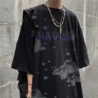butterfly printed t shirt men women summer new hip hop streetwear loose short sleeved couples korean fashion trendy o neck tops