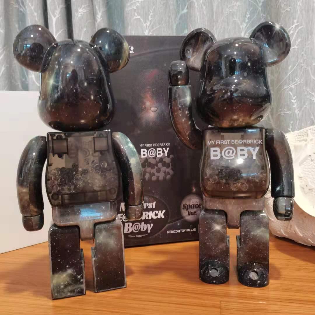 28cm Bearbrick400% Violent Bear Building Block Bear Starry Sky Be@rbrick Hand-made Home Decoration Figure Toys for Boys Gift