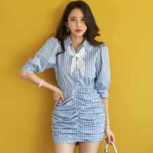 Korea Slim 2020 Puff Half Sleeve Striped Dress Wrinked High Waist Mini Bodycon OL Office Womens Dress