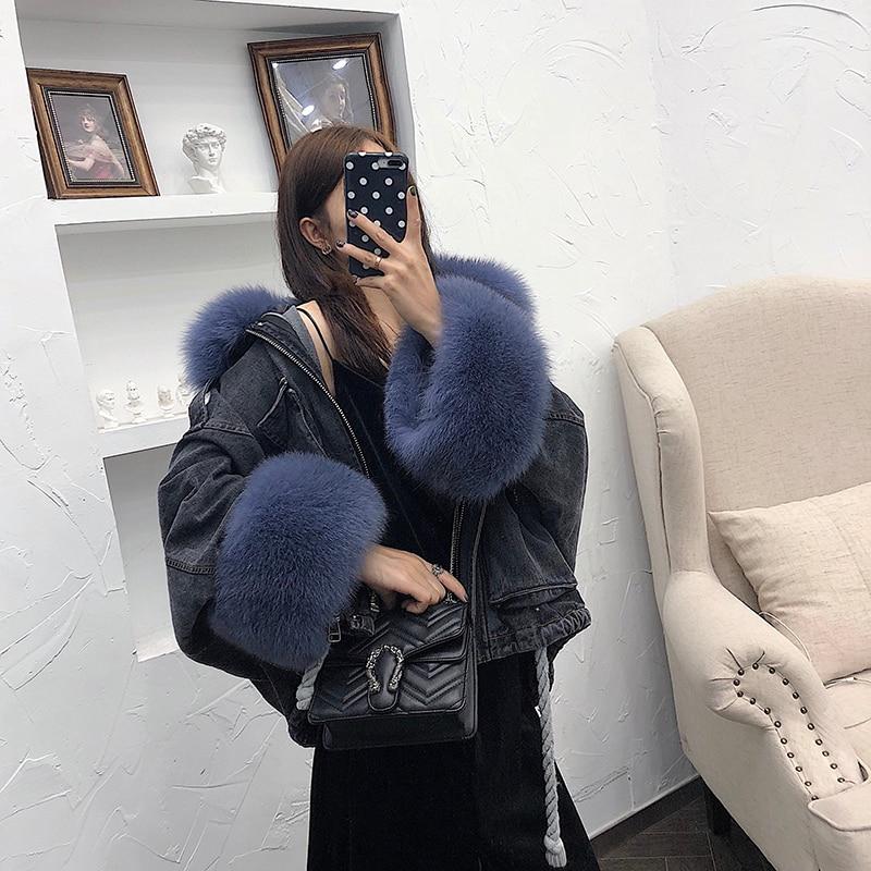 Aorice المرأة فراء ثعلب حقيقي معطف بركة (سترة من الفراء بقبعة للقطب الشمالي) الشتاء جديد فراء أرنب ريكس حقيقي بطانة سترة معاطف CT068