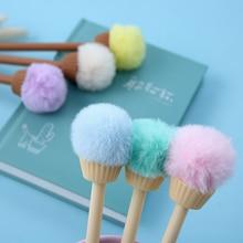 1 Pieces Lytwtws Creative Cute Cartoon Ice Cream Cone Hair Ball Gel kawaii Pen Stationery Gift School Office Supplies