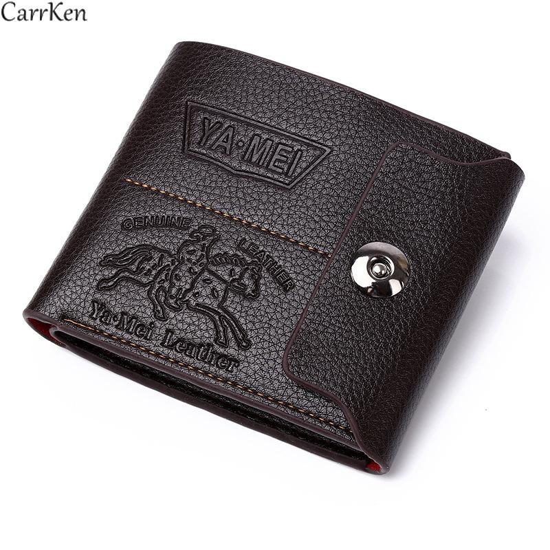 Винтажный Мужской кошелек с узором Личи, короткие деловые мужские кошельки, умный кожаный кошелек, держатель для карт 2021 для мужчин