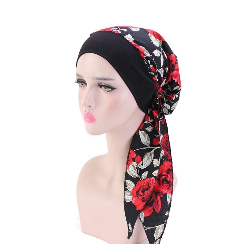 Фото - 2020 Fashion Muslim Headband Turban Caps For women Long Tail Printed Hijab Islamic Headscarf Bonnet Ladies Hairloss Chemo Cap new cotton twist women turban caps muslim printed hijab bonnet islamic african wrap indian hat ladies chemo cap bandanas