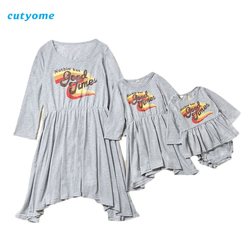 Family Matching Outfits Women Girls Dresses Autumn 2021 Long Sleeve Mother and Daughter Dress Baby G