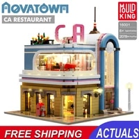 building blocks diner downtown moc architecture bricks store shop streetview modular mould king assembly model kids toys