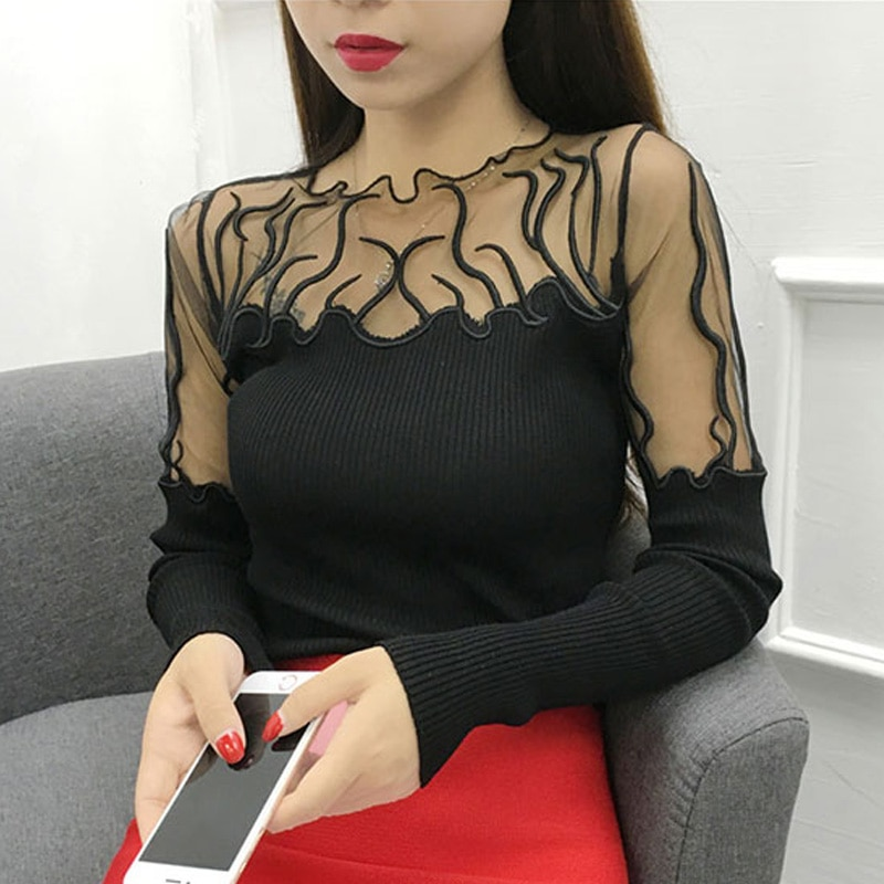 Sexy magro de mangas compridas pulôveres camisa feminina gaze rendas costura camisola de malha moda feminina camisola