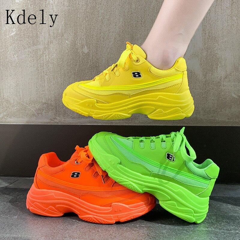 Nuevas zapatillas de diseñador de plataforma de Mujer Zapatos casuales 2019 zapatillas de deporte blancas de moda cesta de plataforma amarillo Bling informal grueso