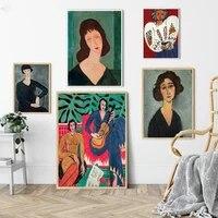 Matisse     peinture sur toile Vintage  figurine abstraite francaise  mode fille  affiche dart mural  photos  decor nordique pour salon  maison