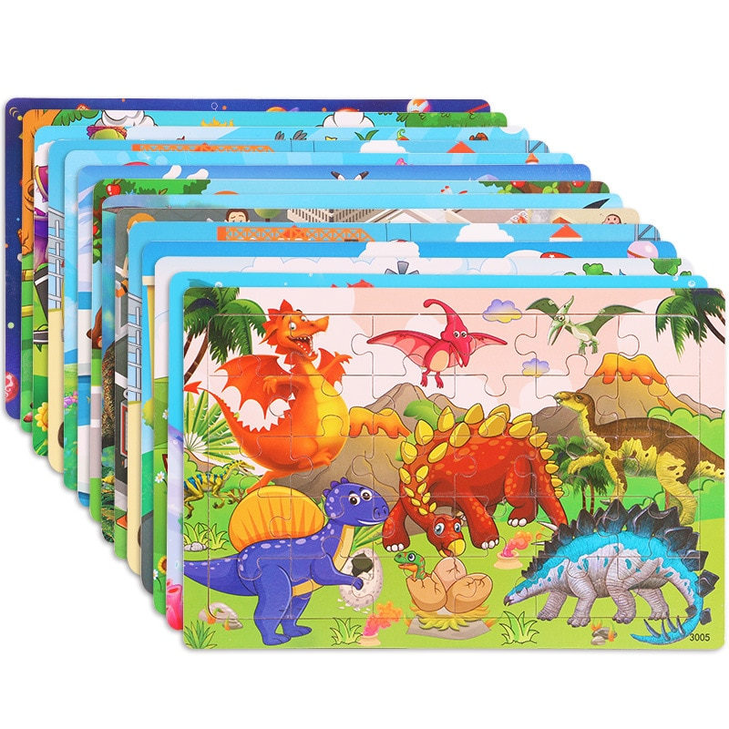 30 Pieces Wooden Toy Jigsaw Puzzle Wood Cartoon Animal Kid Montessori Early Learning Baby Educationa