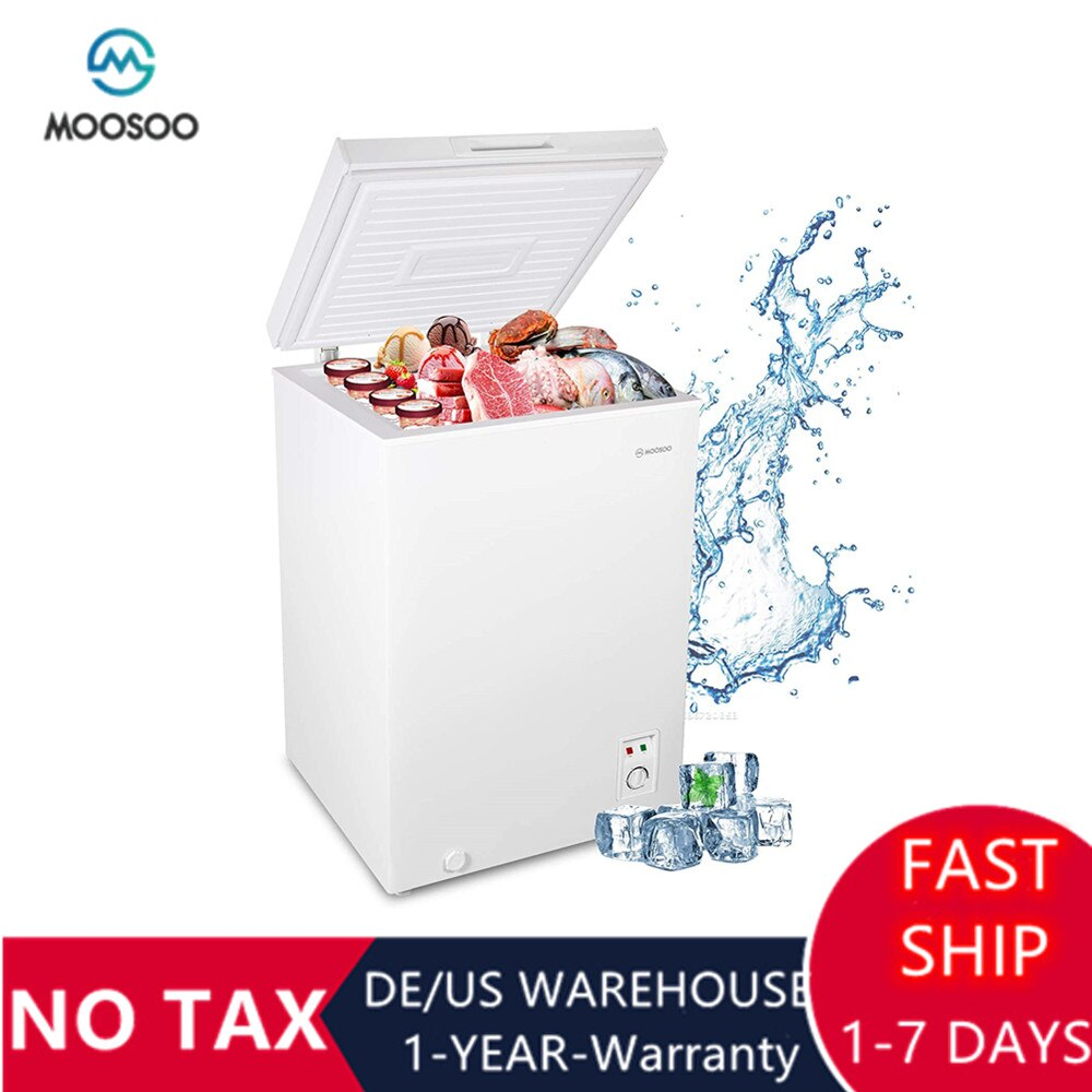 MOOSOO Quiet Chest Freezer 3.5 Cubic Feet with Removable Basket Deep Freezer with Low Noise Energy Saving Compact Freezer