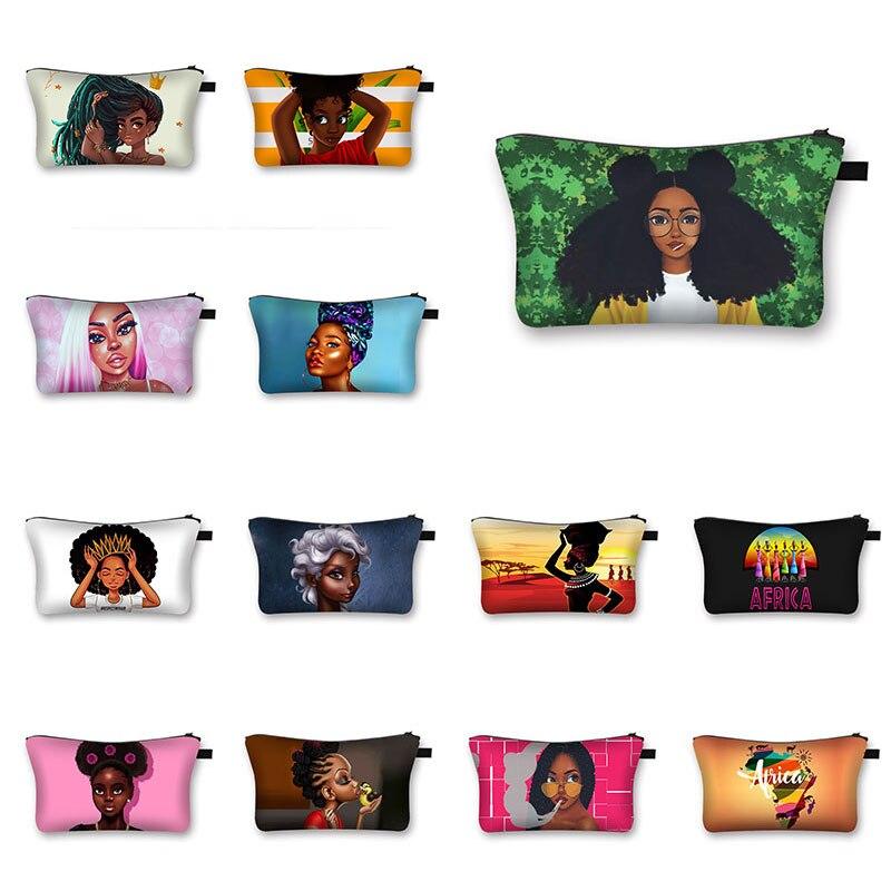 New Women Makeup Bag Africa Cosmetic Bag Girl Print Washing Bag Female Travel Organizer Bag Pouch Cu