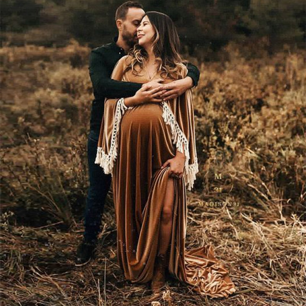 Don&Judy Velvet Maternity Dresses for Photo Shoot Sexy V Neck Maxi Gown Pregnant Pregnancy Women Party Dress for Muslim Mom 2021 enlarge