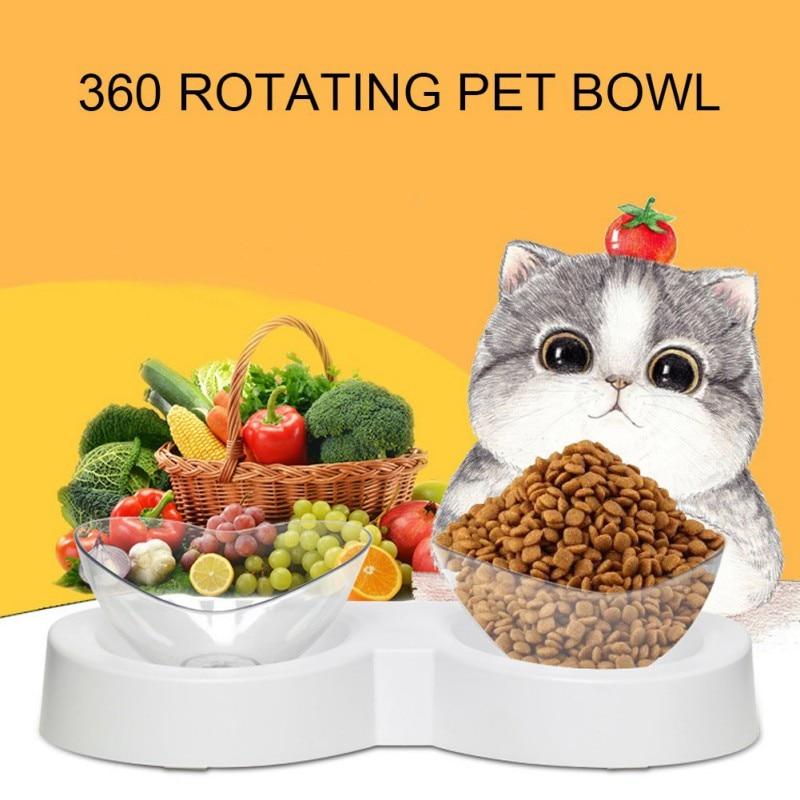 ¡Novedad! Alimentador de doble bol con forma de amor para perros y gatos, protección de rotación de 360 grados, cuenco para alimentos y bebidas con forma de columna Cervical para gatos