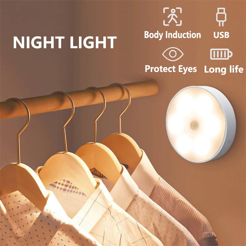 LED Night Light Under Cabinet Motion Sensor Lights USB Rechargeable Wireless Sensor Night Lamp For Bedroom Stair Hallway Decor