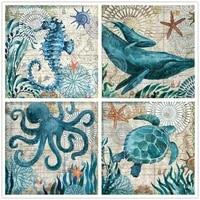 5d diy retro diamond painting blue whale octopus turtle hippocampus vintage poster diamond embroidery cross stitch home decor