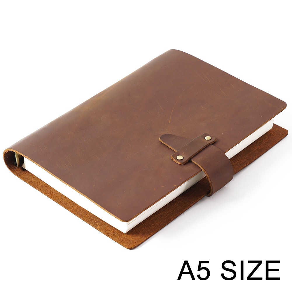 De alta calidad de cuero genuino anillos cuaderno A5 diario en espiral latón carpeta diario cuaderno Agenda planificador