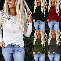 lace floral embroidery applique crochet shirt patchwork clothes solid color knitted shirt women long sleeve plain shirt fashion